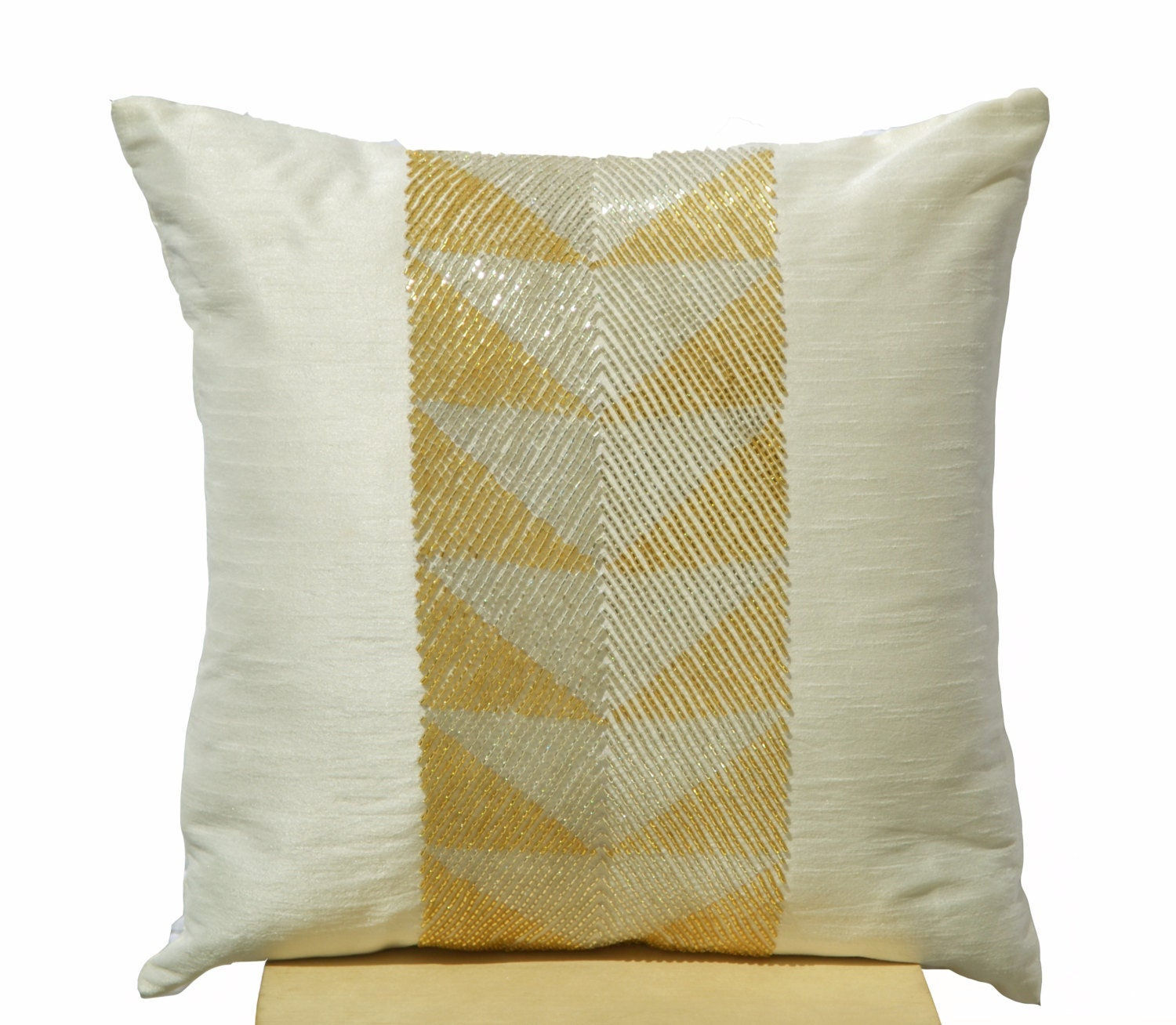 Decorative Pillow Ivory : Ivory white throw pillow with gilver geometric embroidery