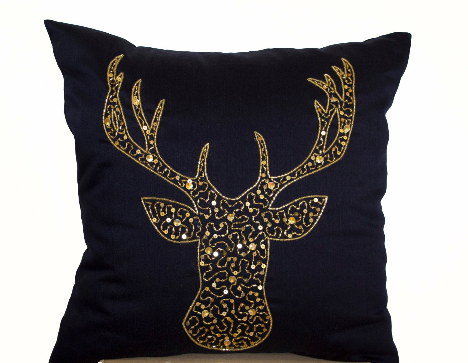 Deer Pillows Animal pillow stag embroidered in gold sequin