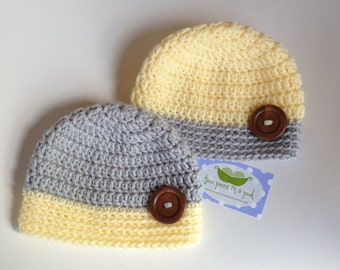 Baby Hat - Crocheted Baby Hat - Photo Prop - Knit Hat - Newborn Hat - Twin Hats - Twin Sets - Gray/Yellow Hat - Knit Baby Hat
