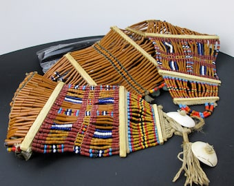 Antique Nagaland Tribal Ethnic Belt/ Girdle, Shell, Beads & Bone Spacers, Excellent Condition, Northeastern India, ca.1900.