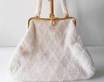 White Beaded Evening Bag Vintage White Purse Wedding Bridal EB-0212
