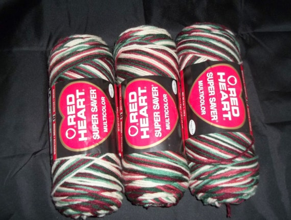 Red Heart Holly & Ivy Yarn - Set of 3 - Christmas Yarn - Acrylic Yarn