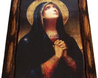 Virgin Mary - Icon on wood handmade (22.8cm x 17.5cm)