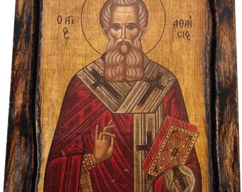 Saint St. Athanasius - Orthodox Byzantine icon on wood handmade (22.5 cm x 17 cm)