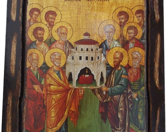Synaxis Of The Holy Twelve Apostles - Orthodox Byzantine icon on wood handmade (22.5 cm x 17 cm)