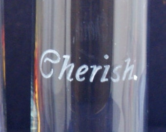 One Personalized  Cylinder Glass Bud Vase