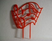 Vintage houseplant pick/stake trellis red plastic musical notes music plants indoor planter 1960's