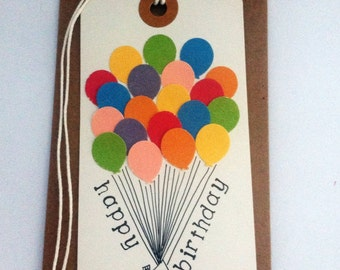 "Birthday card // Disney's ""UP"" inspired card //gift tag shaped card // card and envelope"