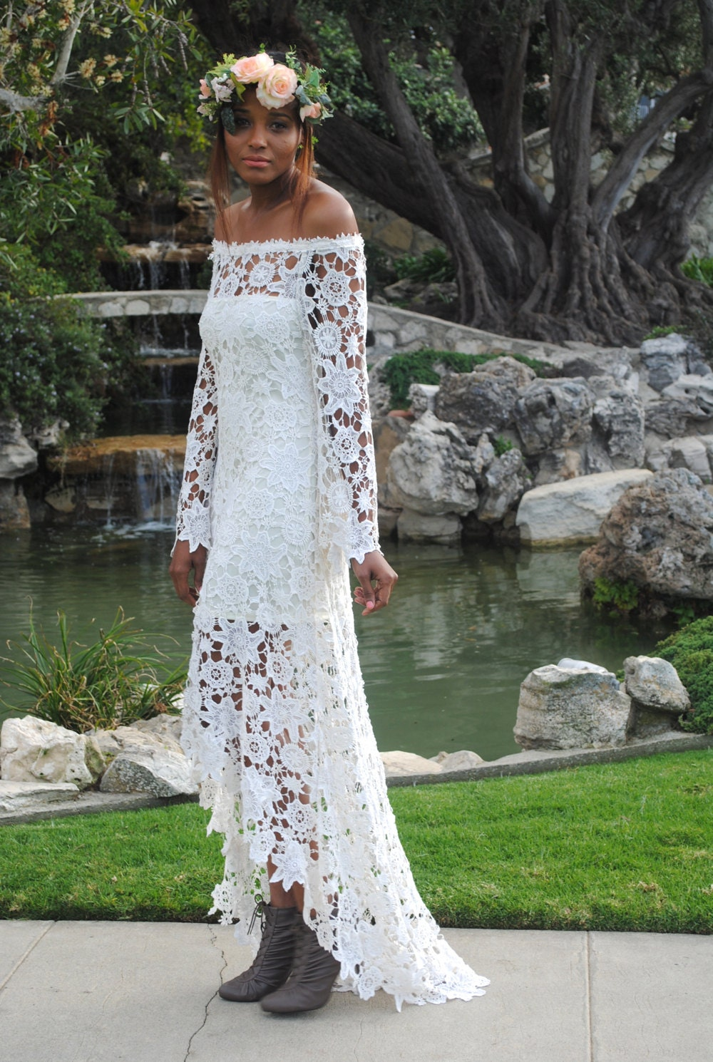 High low lace bohemian wedding dress off shoulder crochet for Boho country wedding dress