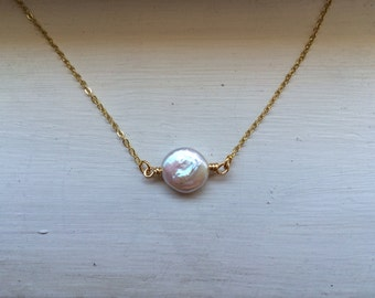 Freshwater coin pearl necklace, bridesmaid gift, nautical, mermaid