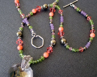 Coral, Pyrite, Peridot, and Jade with Swarovski Crystal Pendant Necklace