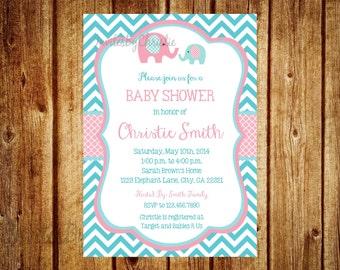 Pink and Teal Elephant Baby Shower Invitation- Digital File- DIY Printable - Elephant Baby Shower Invitation, Chevron Invitation