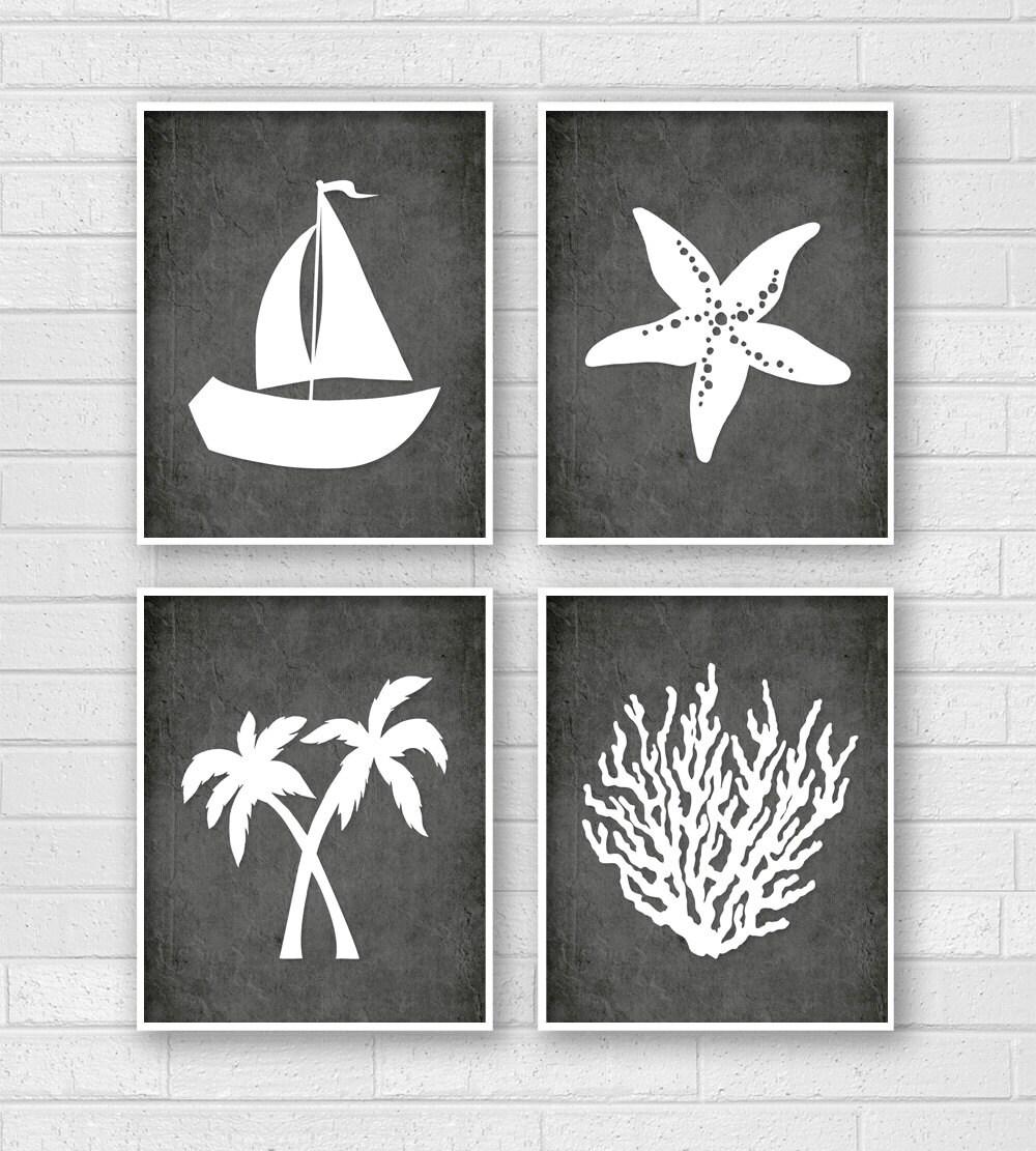 Tropical Bathroom Wall Decor: Tropical Bathroom Art Tropical Bath Prints Beachy Wall Art