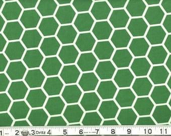 Fabric Honeycomb White on Kelley Green White Kelley Green Hexagon Cotton 1/2 Yard