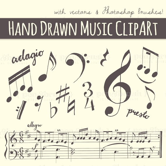 Music Note Calligraphy Clip Art // Plus Photoshop Brushes // Hand ...