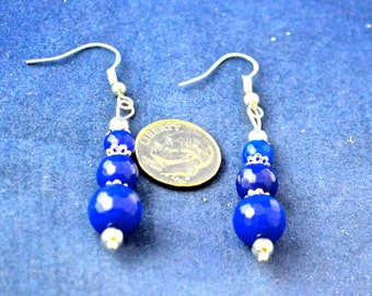 Sapphire Bead Dangle Earrings, 2.5 Inche Long, Natural Sapphire Beads, Sterling Silver metal   E584