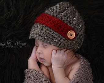 Crochet Newborn boy newsboy hat visor brim hat crochet Newborn photo props photography boy-Made to order