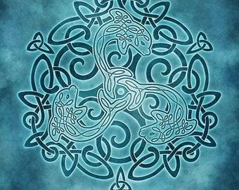 Dancing Dolphins Celtic Dolphins Triskele Knotwork -  Pagan Wiccan Print - Brigid Ashwood