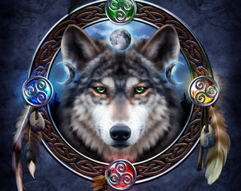 The Celtic Wolf Guide  -  Pagan Wiccan Print - Brigid Ashwood