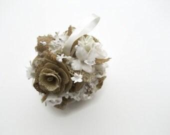 Flower Girl Burlap Pomander Ball / Flower Girl Ball