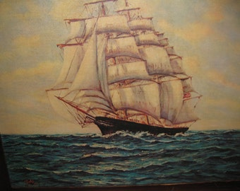 "LARGE VINTAGE LITHO On Canvas Clipper Ship 24 1/2"" X 30"""