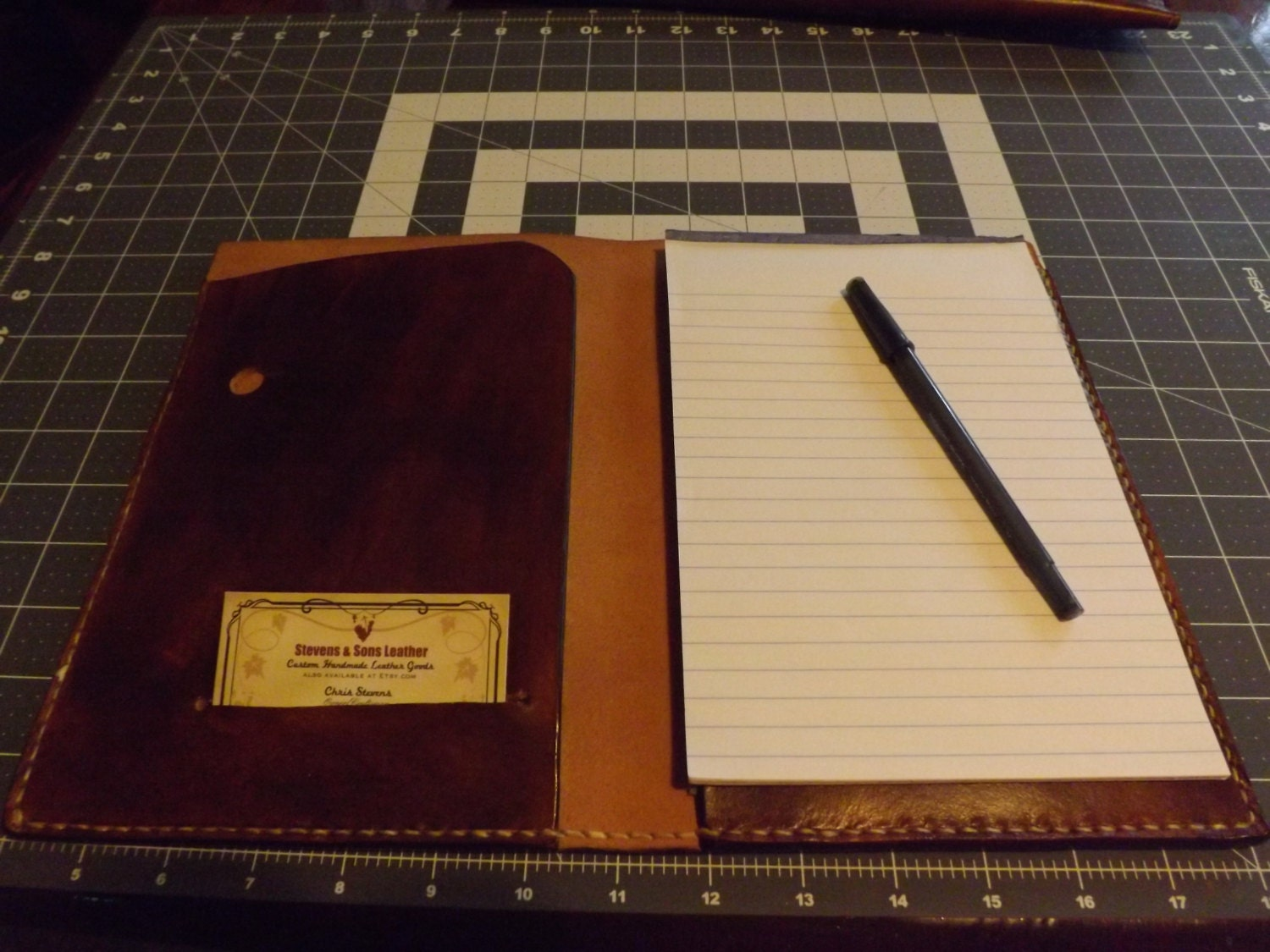 Small Leather Portfolio Notebook Holder Antiqued Handmade