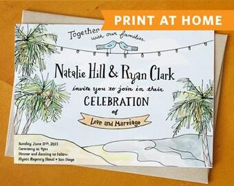 Beachy Keen: Wedding Invitation Printable - Perfect for an Island Wedding, Rustic Wedding, or Beach Wedding