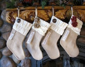 Personalized Christmas Stocking: Neutrals Collection Burlap and Flannel Stocking Cream and Burlap stocking Ruffle stocking Rustic Christmas