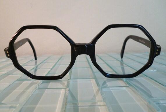 Eyeglass Frames Made In France : Vintage MOD Black Eyeglass Frames Octagonal 1960s Mid Century