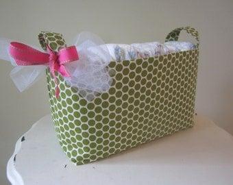 Small Fabric Bin- Diaper Caddy - Dorm Organization