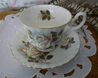 Vintage Royal Albert White Rose  Cup and Saucer Circa 1940s to 1970s