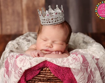 Silver Lace Newborn Crown, Photography Prop, Pink Swarovski Crystals