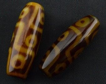 2PC Tibetan Agate dzi 9  EYE  Barrel  Bead 15mm X 38mm