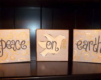 Peace on Earth hand painted canvases