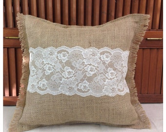 Burlap Pillow with Ivory or White lace - Burlap and Lace Pillow Home decor Shabby Chic