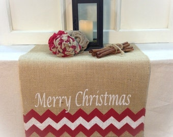 """Burlap Table Runner 16"""" & 18"""" wide with Merry Christmas and Chevron on ends - Christmas runner Holiday decorating"""