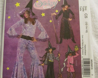 McCall's M5209 UNCUT Pattern / Girl Witch Costumes / Sizes 12, 14 & 16 / Sassy Girl
