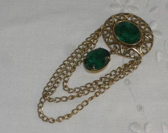 "Brooch - Green ""Stones"" and Chains - Vintage"