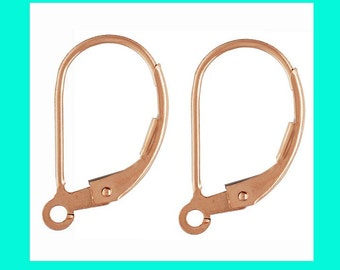 6pcs plain 14k rose gold filled Leverback Lever back earring ear wire with open ring E48rg