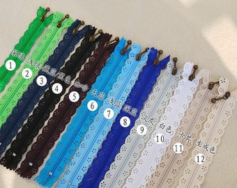 24 pieces lace zippers, Scallop Lace Clothes Purse Bags Metal Zipper 5's - 9 Inches, 24 colors