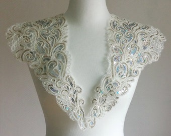 Pair Applique with Gold, Sliver Sequins in White, gold glitter collar for Dress, Altered Clothing, Sewing