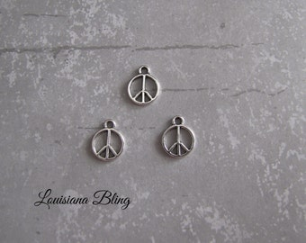 24 Pieces Peace Sign Charm, small silver peace sign chrms, 10mm Antique Silver Finish Peace sign cut out 1-29-S