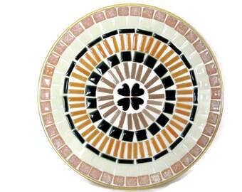 Vintage Mosaic Tile Tray, 1960's Mosaic Plate, Mid Century Mosaic Tray, Decor, Brown, Peach, Orange