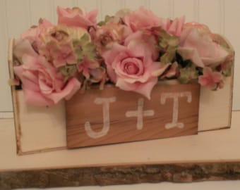 rustic wedding centerpiece, personalized planter centerpiece, country wedding decor