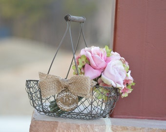 rustic flower girl basket personalized rustic wedding decor, country wedding, shabby chic flower girl basket B114