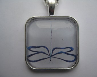 Dragonfly - glass pendant and chain