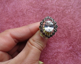 Sterling silver marcarsite victorian  crystal ring