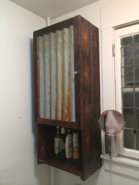 Barn wood medicine cabinet with tin door for Barnwood medicine cabinet