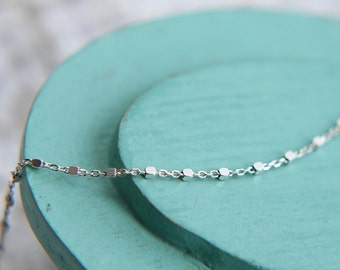 Satellite Chain, Sterling Silver Satellite Chain Necklace, Layering Necklace, Sterling Silver Beaded Chain Necklace, Dainty Satellite Chain