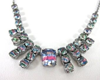 Vintage 1930s Czechoslovakian Iris Rainbow Glass Necklace